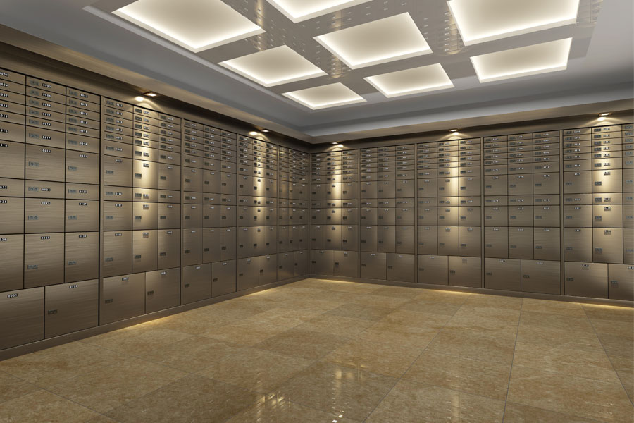 Metal bank vault with safety deposit boxes