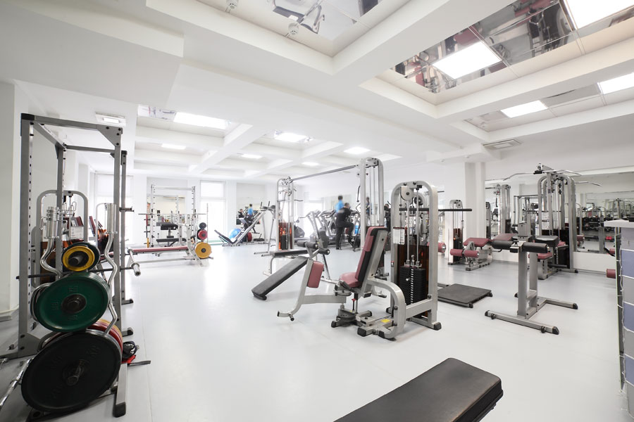 Gym fitness center interior commercially sanitized and cleaned